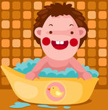 Baby takes a bubble bath Royalty Free Stock Photos