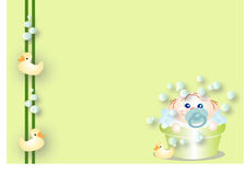 Baby taking a bath. Happy baby taking a bath from bubbles, with its toys Stock Photography