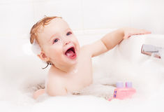 Baby taking a bath Royalty Free Stock Photo
