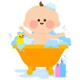Baby taking a bath stock illustration