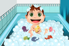 Baby taking bubble bath Royalty Free Stock Images