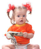 Baby taking dollars. Baby taking 100 dollars. Isolated Stock Photo