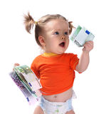 Baby taking euro. Baby taking different euro. Isolated Royalty Free Stock Photos