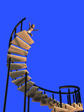 Baby taking a high dive. Render of a baby taking a high dive from a spiral staircase Royalty Free Stock Photos