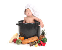Baby Taking a Portrait in a Chef Themed Studio Set Royalty Free Stock Photo