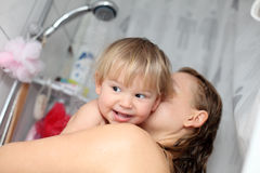 Baby taking a shower Royalty Free Stock Photo