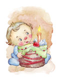 Baby tasting his first birthday cake. Watercolor illustration Stock Photography