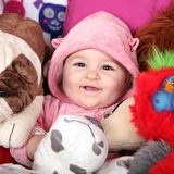Baby and teddies Royalty Free Stock Photos