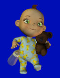 Baby with teddy. 3d  render a running baby with teddy than illustration Royalty Free Stock Image