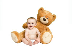 Baby with a teddy Stock Photo