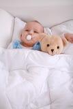 Baby with teddy stock photos
