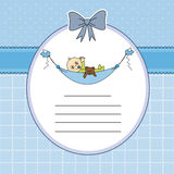 Baby and teddy bear. Baby boy arrival announcement card. Baby sleeping with teddy bear Stock Images