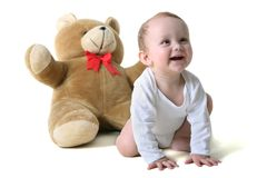 Baby with teddy bear Stock Photo