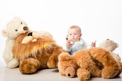 The baby and teddy Bear Royalty Free Stock Images
