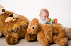 The baby and teddy Bear Stock Photo