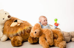 The baby and teddy Bear Royalty Free Stock Image