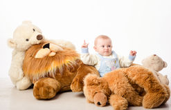 The baby and teddy Bear Stock Photography