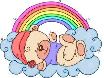 Baby teddy bear lying on clouds with rainbow. Scalable vectorial representing a baby teddy bear lying on clouds with rainbow, element for design, illustration vector illustration
