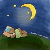 Baby teddy bear sleeping on grass Stock Photos
