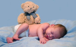 Baby and teddy bear Royalty Free Stock Image