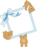 Baby teddy bears holding blue frame and ribbon Stock Photos