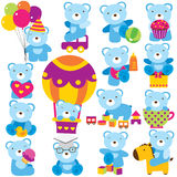 Baby teddy clip art set Stock Photos