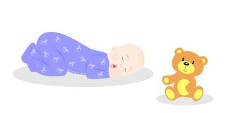 Baby and teddy Stock Images