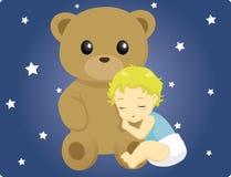 Baby and Teddy. Vector illustration of a cute baby sleeping beside a big Teddy Bear Royalty Free Stock Photos