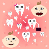 Baby teeth. The first baby teeth. Happy child with healthy teeth. Vector illustration Royalty Free Stock Photos