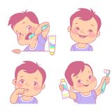 Baby teeth set. Little boy with tooth brush and toothpaste. Happy smiling child with healthy teeth, Sad kid feel toothache. Logo/emblem for medicine or hygiene Stock Image