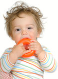 Baby teething on orange plastic ring Royalty Free Stock Photo