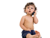 Baby with telephone. Baby with telephone, isolated on a white background Stock Photos