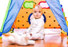Baby in the tent Royalty Free Stock Photo