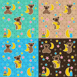 Baby texture with bear moon star. Vector illustration, eps Royalty Free Stock Photography