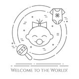 Baby theme horizontal banner. Pictograms of baby, cloth and rattle in a circle. Newborn related elements. Line out symbols. Stock Photography