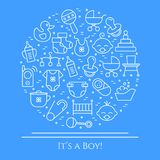 Baby theme horizontal banner. Pictograms of baby, pram, crib, mobile, toys, rattle, bottle, diaper, bathtub, bib and other newborn. Related elements Line out royalty free illustration