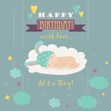 Baby theme. It s a boy card Stock Photography