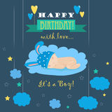 Baby theme. It s a boy card Royalty Free Stock Images