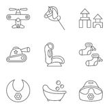 Baby thin line related vector icon set Royalty Free Stock Images