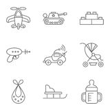 Baby thin line related vector icon set Stock Photos