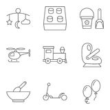 Baby thin line related vector icon set Stock Images