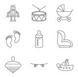 Baby thin line related vector icon set Royalty Free Stock Photos