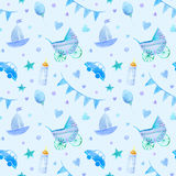Baby things seamless pattern.Newborn boy attributes. Stock Images
