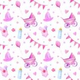 Baby things seamless pattern.Newborn girl attributes. Stock Photos