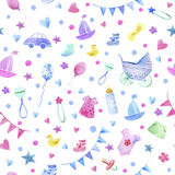 Baby things seamless pattern. Stock Photography