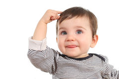 Baby thinking an idea. Baby in a thinking pose having an idea on a white background Stock Photography