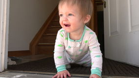Baby thinking about steps near open front door.