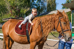 Baby of three rides on horseback Royalty Free Stock Images