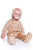 Baby tiger. Baby wearing tiger suit isolated on white stock photos