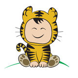 Baby in tiger  Costume  : done in a hand-drawn  illustrati Royalty Free Stock Image